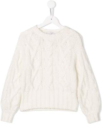 Brunello Cucinelli Kids cable knit jumper