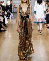 Oscar de la Renta Pleated Floral V-Neck Sleeveless Gown, Multi Gold