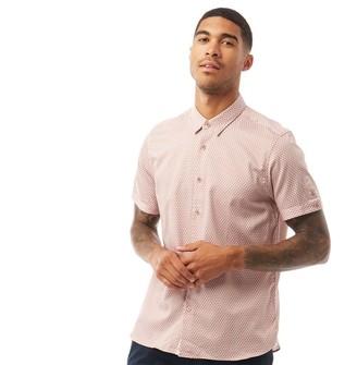Ted Baker Mens Gudvu Short Sleeve Geo Print Shirt Light Pink