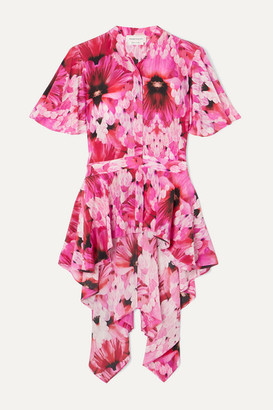 Alexander McQueen Floral-print Silk Crepe De Chine Peplum Blouse - Pink