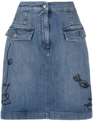 Moschino Cornely embroidered denim skirt