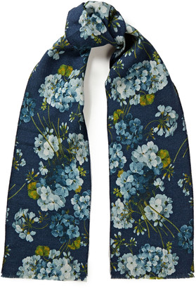 Gucci Reversible Floral-print Wool And Jacquard Scarf