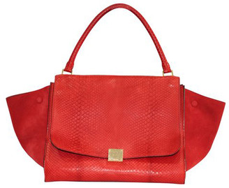 Celine Red Snake Leather Trapeze Bag
