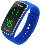 SKMEI Boys and Girls Water Resistant LED Digital Display Blue Silicone Arced Dial Sport Wrist Watch