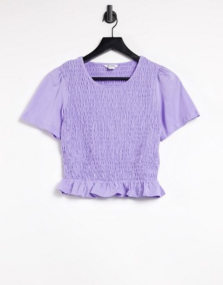 Monki shirred top in lilac