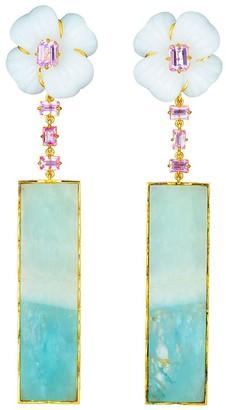 GUITA M 18kt Yellow Gold, Sapphire, Agate And Aquamarine Drop Flower Earrings