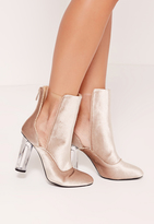 Missguided Velvet Plastic Cut Out Ankle Boots Nude
