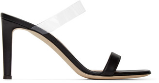 Giuseppe Zanotti Black Leather Basic 85 mm Mule Sandals