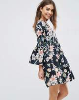Asos Smock Dress With V Neck And Trumpet Sleeve In Floral Print