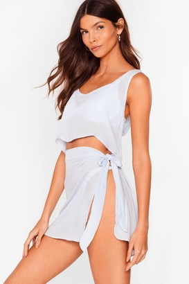 Nasty Gal Womens Beach Please Cover Up Crop Top and Skirt Set - Powder Blue