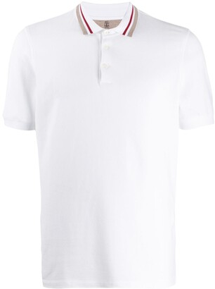 Brunello Cucinelli striped collar polo shirt