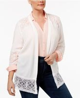 NY Collection Plus Size Lace-Inset Cardigan