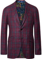 Etro Plum Slim-Fit Checked Wool, Silk And Linen-Blend Blazer
