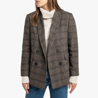 La Redoute Collections Wool Mix Checked Blazer with Double-Breasted Buttons and Pockets
