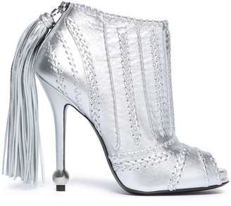 Roger Vivier Tassel-trimmed Metallic Whipstitched Leather Ankle Boots