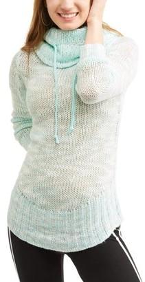 No Boundaries Juniors' marled knit cowl neck pullover
