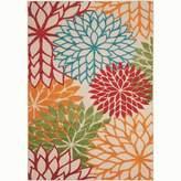 Nourison Aloha ALH05 Orange/Red/Green Flowers Indoor/Outdoor Area Rug