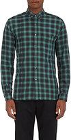 Public School Men's Raw-Edge Plaid Cotton Shirt-BLACK