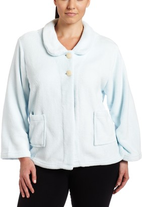 Casual Moments Women's Plus-Size Bed Jacket with Peter Pan Collar