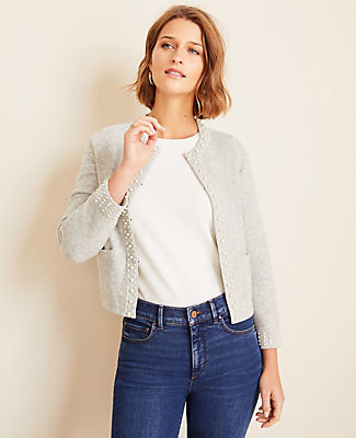 Ann Taylor Pearlized Cropped Cardigan