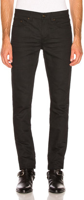 Saint Laurent Low Rise Skinny Jean in Used Black | FWRD