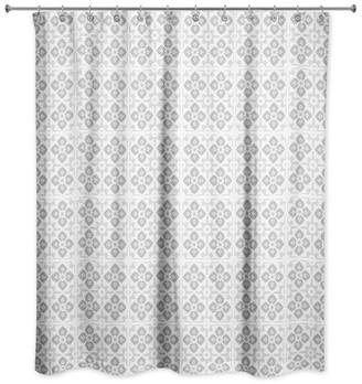 Ddcg Gray Tile Pattern 71x74 Shower Curtain