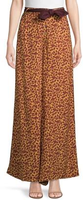 Free People Animal-Print Wide-Leg Pants