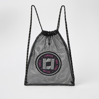 River Island Girls black mesh RI drawstring backpack