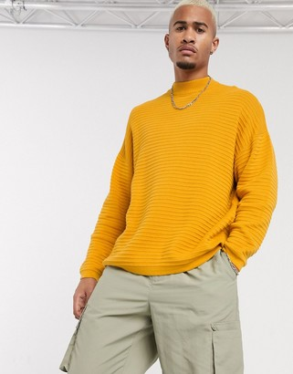 Bershka ribbed jumper with high neck in mustard