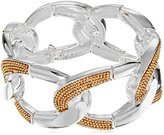 Kenneth Cole New York Two-Tone Inlayed Chain Link Stretch Bracelet