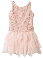 Kate Mack - Biscotti Pink Rose Applique Dress with Tulle Skirt