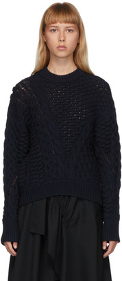 3.1 Phillip Lim Navy Wool Cable Knit Sweater