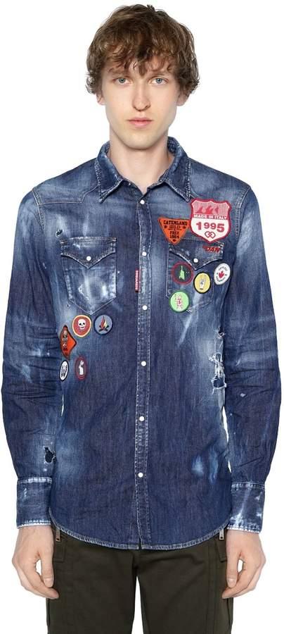 DSQUARED2 Patch Cotton Denim Western Shirt