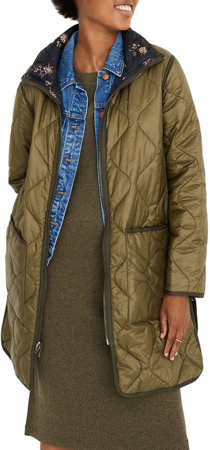 Madewell Forest Floral Reversible Quilted Liner Jacket