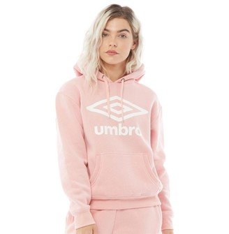 Umbro Womens Active Style Large Logo Hoodie Pale Pink/White