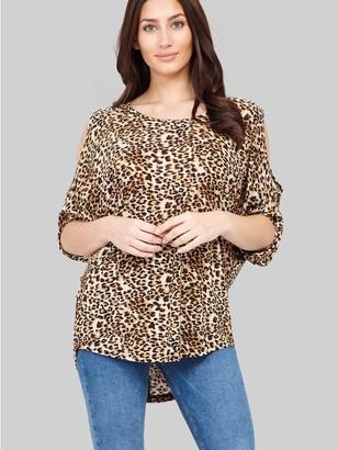 M&Co Izabel animal print cold shoulder top
