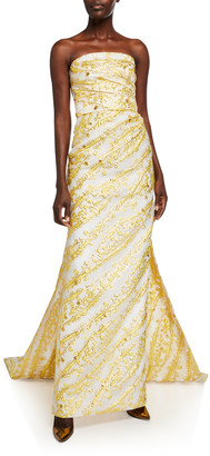 Monique Lhuillier Strapless Column Gown w/ Wraparound Train
