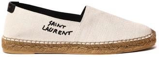 Saint Laurent Beige Cottono Espadrilles With Embroidered Logo