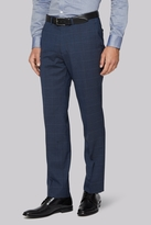 Hardy Amies Tailored Fit Blue Melange Check Trousers