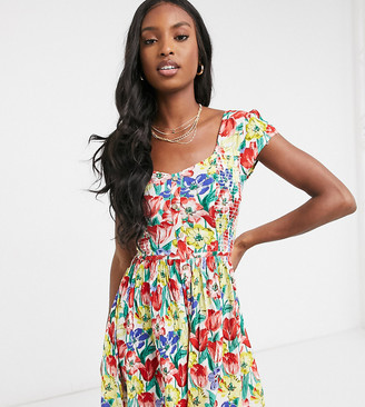 Brave Soul Tall pin smock dress in retro floral print