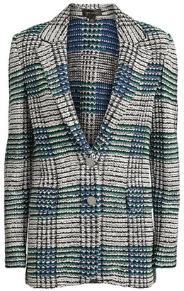 St. John Ribbon Plaid Knit Blazer