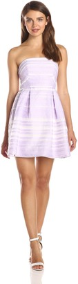 Minuet Women's A Line Striped Dress with Pleated Skirt