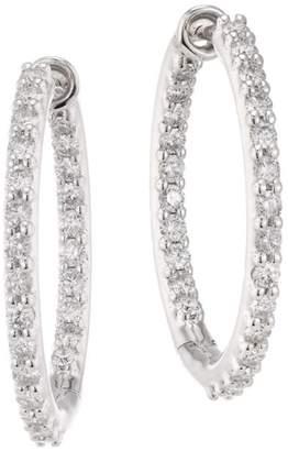 Hearts On Fire HOF Classics 18K White Gold & Round Diamond Inside-Out Hoop Earrings