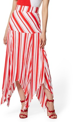 New York & Co. Stripe Pleated Handkerchief-Hem Skirt