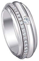 Piaget Possession 18K White Gold Turning Ring with Diamonds, Size 6