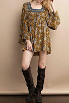 Easel Floral Mustard Dress
