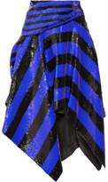 Proenza Schouler Asymmetric Sequined Silk Wrap Midi Skirt