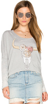 Chaser Floral Cow Skull Tee in Gray