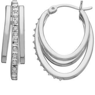 Mystique Diamond Platinum Over Silver Oval Hoop Earrings