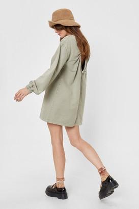 Nasty Gal Womens Backless Acid Wash Sweatshirt Dress - Green - 4